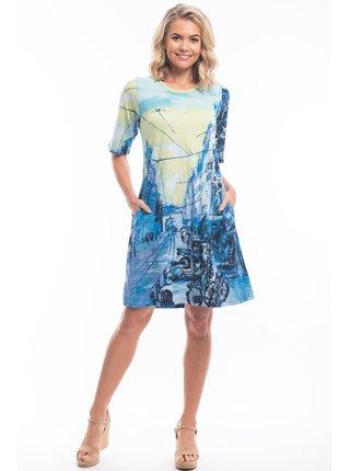 Orientique modré šaty Street Blue se vzory