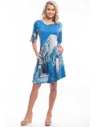 Orientique modré šaty Morocco se vzory