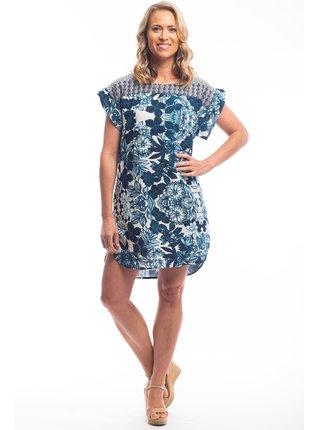 Orientique modro-bílé květované šaty Alcazar