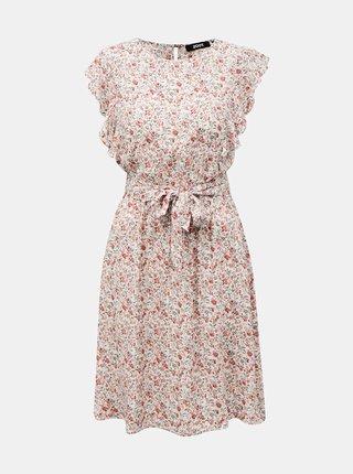 Ružovo-biele kvetované šaty so zaväzovaním ZOOT Debora
