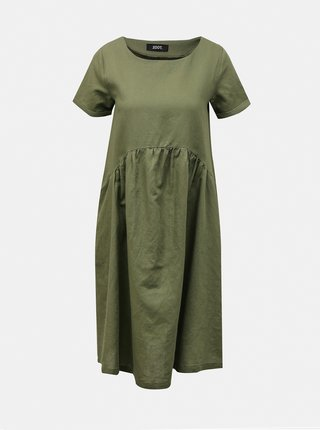 Zelené volné lněné šaty s kapsami ZOOT Medeline