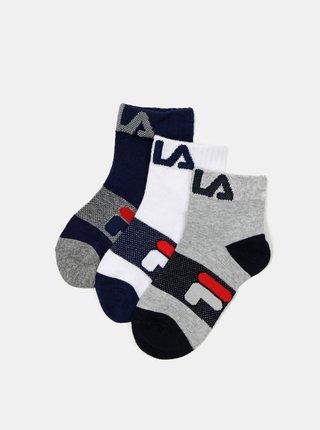 Sada tří párů dětských ponožek v modré a šedé barvě FILA