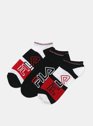 Sada tří párů pánských ponožek v červené a černé barvě FILA