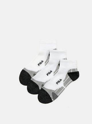 Sada tří párů bílých dámských ponožek FILA