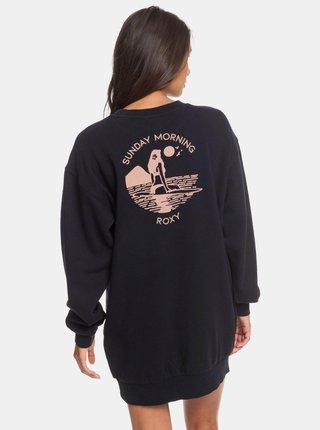 Černá dlouhá mikina s potiskem na zádech Roxy