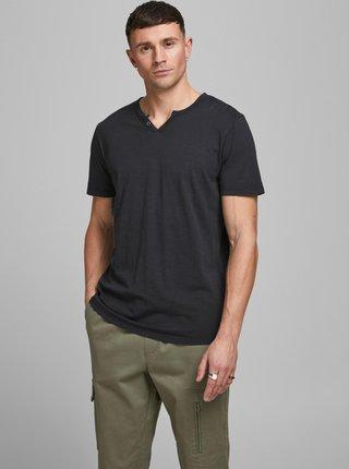 Černé tričko s knoflíky Jack & Jones Esplit