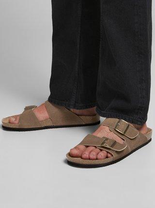 Hnědé pánské semišové pantofle Jack & Jones Croxton