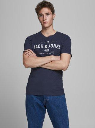 Tmavomodré tričko s potlačou Jack & Jones Jeans