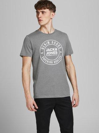 Šedé tričko s potiskem Jack & Jones Jeans