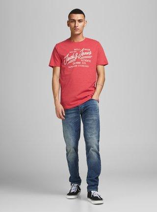 Červené tričko s potlačou Jack & Jones Jeans