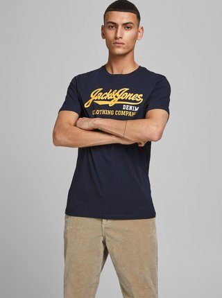 Tmavomodré tričko s potlačou Jack & Jones Logo