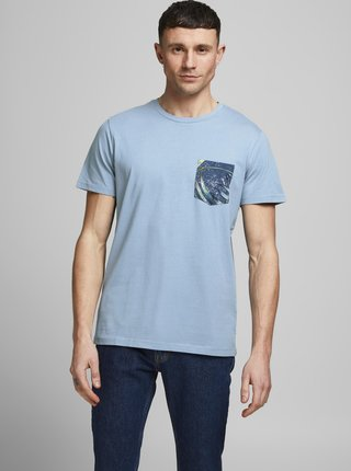 Svetlomodré tričko s vreckom Jack & Jones Pock