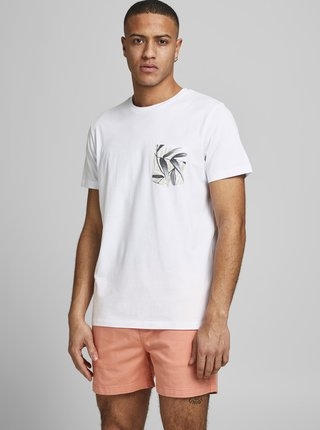 Bílé tričko s kapsou Jack & Jones Pock