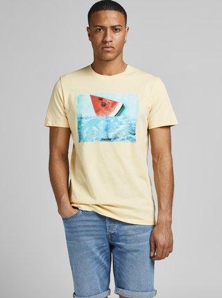 Svetložlté tričko s potlačou Jack & Jones Summer