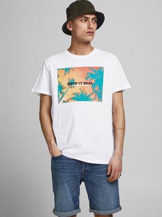 Bílé tričko s potiskem Jack & Jones Summer