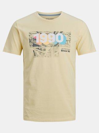 Svetložlté tričko s potlačou Jack & Jones Spring