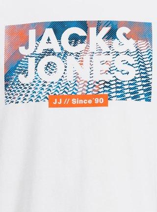 Bílé tričko s potiskem Jack & Jones Spring