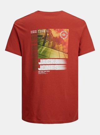 Červené tričko s potlačou na chrbte Jack & Jones Pol