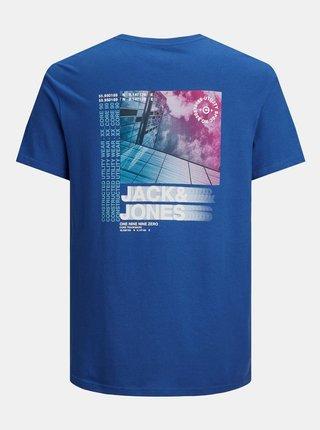 Modré tričko s potiskem na zádech Jack & Jones Pol