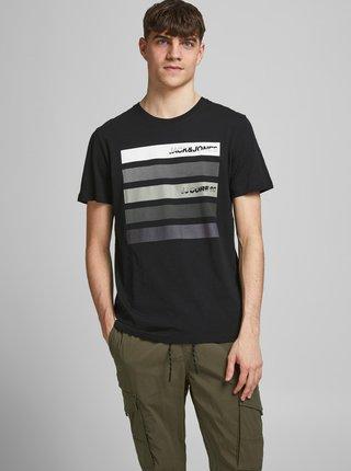 Čierne tričko s potlačou Jack & Jones Rain