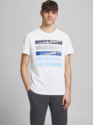 Bílé tričko s potiskem Jack & Jones Rain