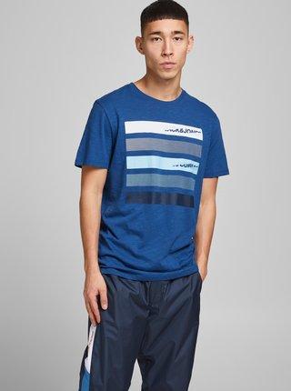Modré tričko s potlačou Jack & Jones Rain