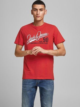 Červené tričko s potlačou Jack & Jones Logo