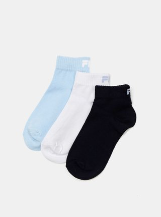 Sada tří párů dámských ponožek v černé a modré barvě FILA