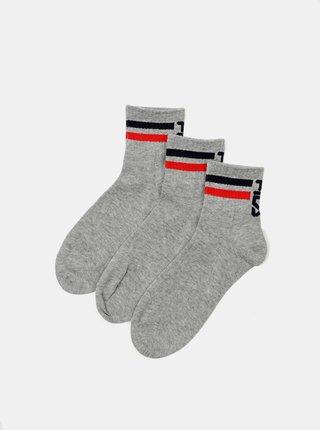 Sada tří párů šedých dámských ponožek FILA