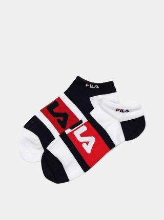 Sada dvoch párov dámskych ponožiek v čiernej a bielej farbe FILA