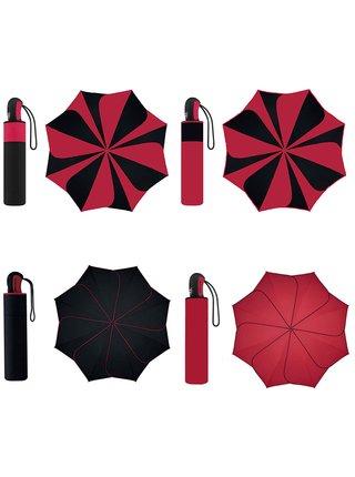 Pierre Cardin SUNFLOWER Red & Black dámský skládací deštník - Červená