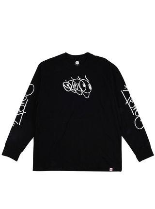 Element KLUDGE FLINT BLACK pánské triko s dlouhým rukávem - černá