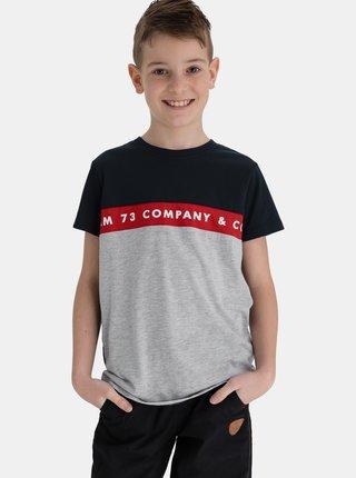 Šedo-modré klučičí tričko s nápisem SAM 73
