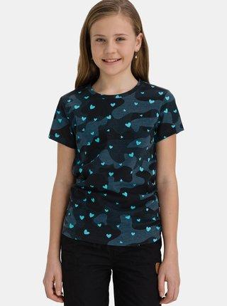 Tmavomodré dievčenské vzorované tričko SAM 73