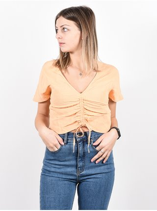 RVCA RUCHED CANTALOUPE dámské triko s krátkým rukávem - béžová