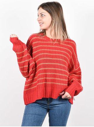 RVCA PENNYROYAL TEA BRIGHT RED svetr dámský - červená