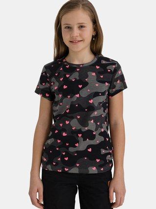 Čierne dievčenské vzorované tričko SAM 73