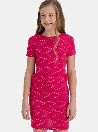 Ružové dievčenské vzorované šaty so zaväzovaním SAM 73