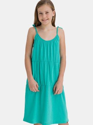 Tyrkysové dievčenské šaty na ramienka SAM 73