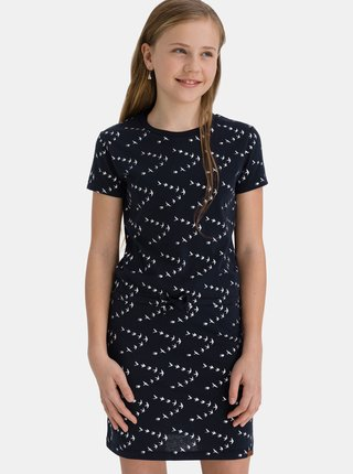 Tmavomodré dievčenské vzorované šaty so zaväzovaním SAM 73