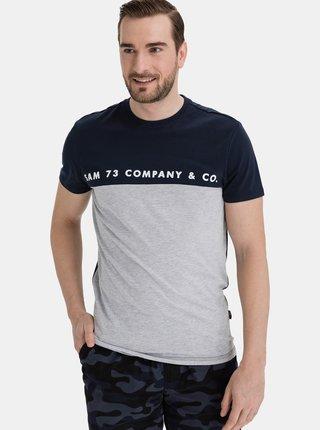 Šedo-modré pánské tričko SAM 73