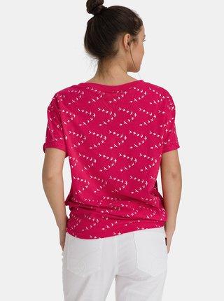 Růžové dámské vzorované volné tričko SAM 73
