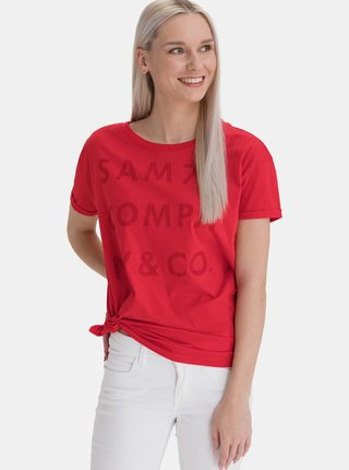 Červené dámské volné tričko s potiskem SAM 73