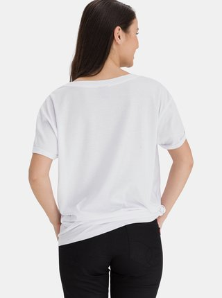 Bílé dámské volné tričko s potiskem SAM 73