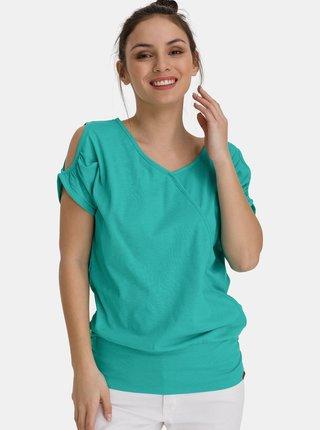 Zelené dámské dlouhé tričko s průstřihy na rukávech SAM 73