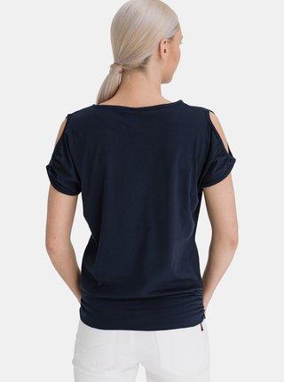 Tmavě modré dámské dlouhé tričko s průstřihy na rukávech SAM 73