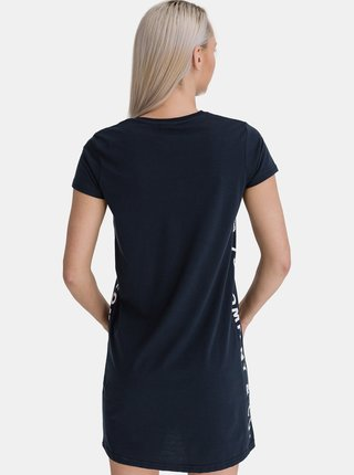 Tmavomodré dámske šaty s potlačou SAM 73