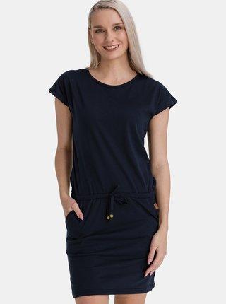 Tmavě modré dámské šaty se zavazováním SAM 73