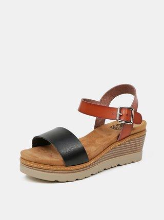Hnedo-čierne sandálky na plnom podpätku Xti