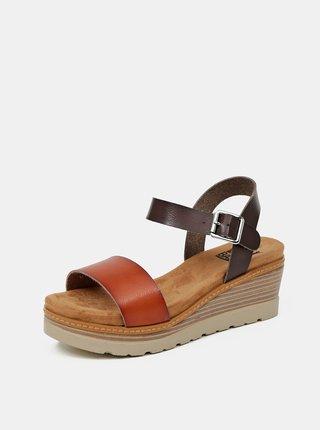 Hnědé sandálky na klínku Xti